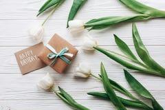 Segno del testo di buon compleanno sulla scatola e sul greeti alla moda del presente del mestiere Immagini Stock