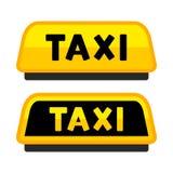 Segno del tetto dell'automobile del taxi Logo Label Set Vettore Fotografia Stock
