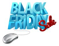 Segno del topo del computer di vendita di Black Friday Fotografie Stock Libere da Diritti