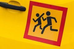 Segno del trasporto dei bambini dell'asta del ¡ di Ð immagine stock