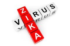 Segno del virus di Zika come blocchetti delle parole incrociate rappresentazione 3d Immagine Stock