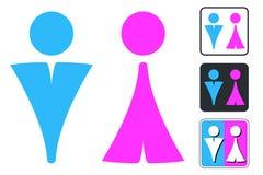 Segno del WC per la toilette Icone del piatto della porta della toilette Uomini e donne Vec Immagine Stock Libera da Diritti
