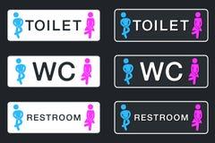 Segno del WC per la toilette Icone del piatto della porta della toilette Uomini e donne Vec Immagini Stock