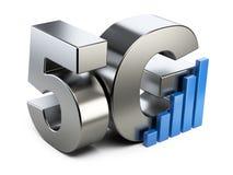 segno dell'acciaio 5G Tecnologia mobile ad alta velocità di web Fotografia Stock
