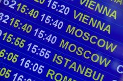 Segno dell'aeroporto - informazioni di volo Fotografia Stock