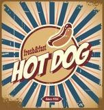 Segno dell'annata del hot dog Immagini Stock Libere da Diritti