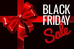 Segno dell'arco del nastro del regalo di vendita di Black Friday Immagine Stock Libera da Diritti