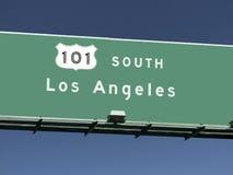 Segno dell'autostrada senza pedaggio di Los Angeles 101 Fotografie Stock