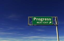 Segno dell'autostrada senza pedaggio di progresso Fotografia Stock
