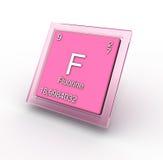 Segno dell'elemento chimico del fluoro Fotografia Stock Libera da Diritti