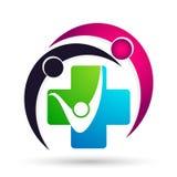 Segno dell'elemento dell'icona di logo di concetto di benessere della clinica dell'incrocio di salute della famiglia del globo di fotografia stock libera da diritti