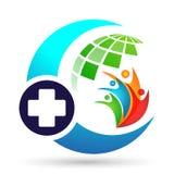 Segno dell'elemento dell'icona di logo di concetto di salute della famiglia del globo dell'incrocio di assistenza medica su fondo fotografie stock libere da diritti