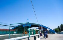 Segno dell'entrata al Kazakistan durante l'estate Fotografia Stock Libera da Diritti