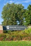 Segno dell'entrata alla città universitaria dell'università di Hamline Fotografie Stock