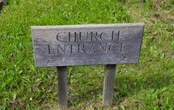 Segno dell'entrata della chiesa Fotografie Stock Libere da Diritti