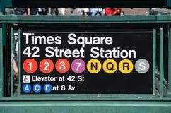 Stazione del Times Square del metropolitana di new york Fotografie Stock Libere da Diritti