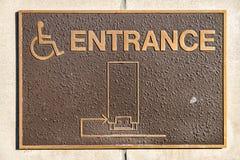 Segno dell'entrata di handicap Fotografie Stock