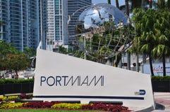 Segno dell'entrata di Miami del porto Fotografia Stock Libera da Diritti