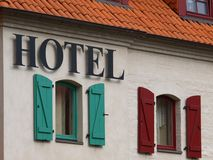 Segno dell'hotel Fotografia Stock Libera da Diritti
