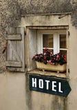 Segno dell'hotel Fotografia Stock