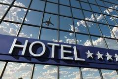 Segno dell'hotel con le stelle Fotografia Stock Libera da Diritti