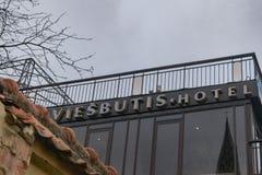 Segno dell'hotel di Daugirdas a Kaunas fotografia stock libera da diritti