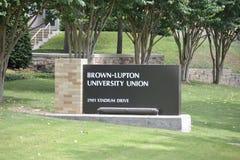 Segno dell'iarda del sindacato dell'università di Brown-Lupton Fotografia Stock Libera da Diritti