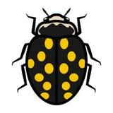 Segno dell'icona di simbolo di logo della coccinella con quattordici punti gialli royalty illustrazione gratis