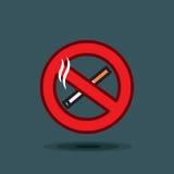 Segno dell'icona di vettore non fumatori su fondo scuro Immagini Stock