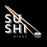 Segno dell'illustrazione di notte dei sushi Fotografie Stock Libere da Diritti