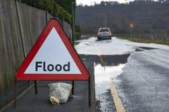 Segno dell'inondazione Fotografia Stock