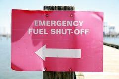 Segno dell'interruttore di combustibile di emergenza Immagini Stock