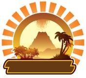 Segno dell'isola vulcanica Fotografie Stock Libere da Diritti