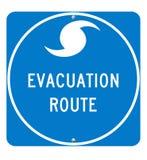 Segno dell'itinerario dell'evacuamento di uragano Immagini Stock