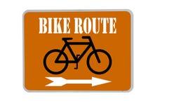 Segno dell'itinerario della bici su priorità bassa arancione Immagine Stock