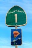 Segno dell'itinerario 1 di California Fotografia Stock