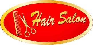 Segno dell'oro del salone di capelli con le forbici ed il pettine Immagine Stock Libera da Diritti