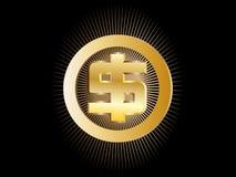 Segno dell'oro sul dollaro americano Fotografia Stock