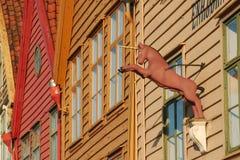 Segno dell'unicorno a Bryggen, Bergen Immagini Stock
