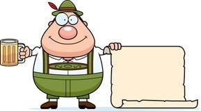 Segno dell'uomo dei Lederhosen del fumetto illustrazione di stock