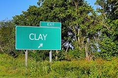 Segno dell'uscita della strada principale degli Stati Uniti per argilla Immagine Stock