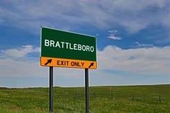 Segno dell'uscita della strada principale degli Stati Uniti per Brattleboro fotografia stock libera da diritti