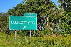 Segno dell'uscita della strada principale degli Stati Uniti per la città di Ellicott Fotografie Stock