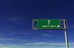 Segno dell'uscita di autostrada senza pedaggio del punto interrogativo Immagine Stock Libera da Diritti