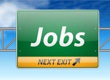 Segno dell'uscita di autostrada senza pedaggio di job Immagini Stock Libere da Diritti