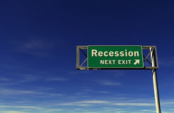 Segno dell'uscita di autostrada senza pedaggio ?di recessione? Fotografia Stock Libera da Diritti