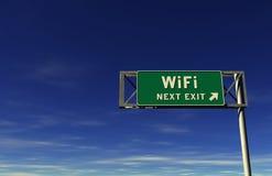 Segno dell'uscita di autostrada senza pedaggio di WiFi Immagini Stock Libere da Diritti