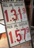 Segno della benzina Fotografia Stock Libera da Diritti