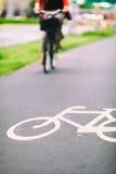 Segno della bici della città sulla strada variopinta Immagini Stock Libere da Diritti