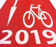 Segno della bicicletta da 2019 nuovi anni fotografie stock